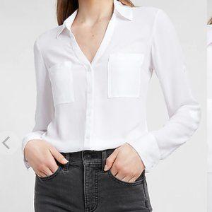 EXPRESS SLIM FIT White Two Pocket Portofino Shirt
